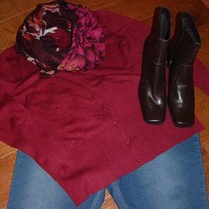 Merona Size L Burgundy Cardigan